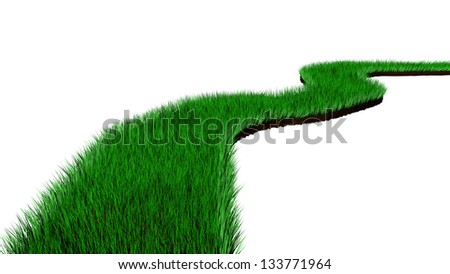 Render of a Green Road Grass - stock photo
