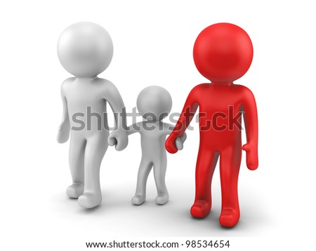 render of a happy family - stock photo