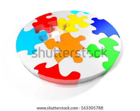 render of a jigsaw puzzle circle
