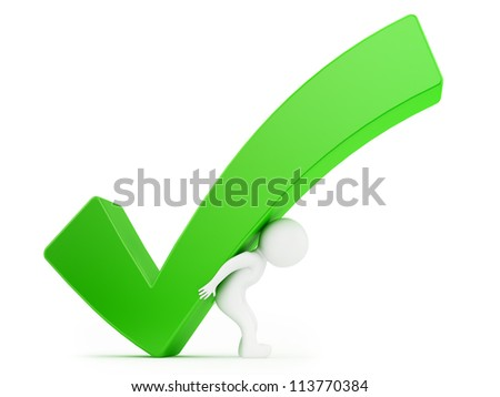 render of a man holding a big check mark, isolated on white - stock photo