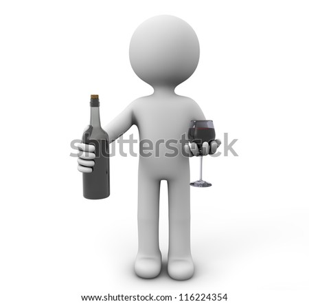 render of a man with a bottle and a glass of wine