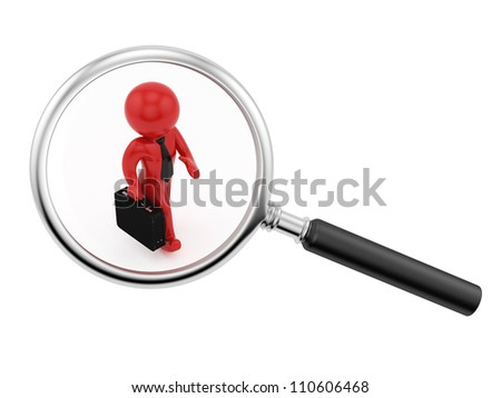 render of a man with a briefcase under a magnifying glass - stock photo