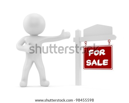 render of a man with a for sale sign - stock photo