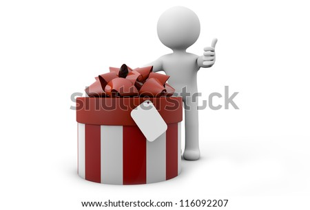 render of a man with a gift with an empty label