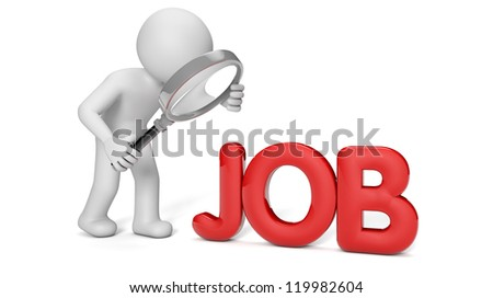 render of a man with a magnifying glass looking for a job