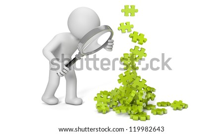 render of a man with a magnifying glass looking to puzzle pieces