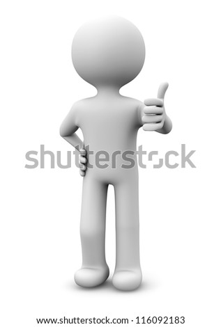 render of a man with the thumb up