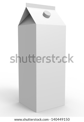 render of a milk packaging isolated on white - stock photo