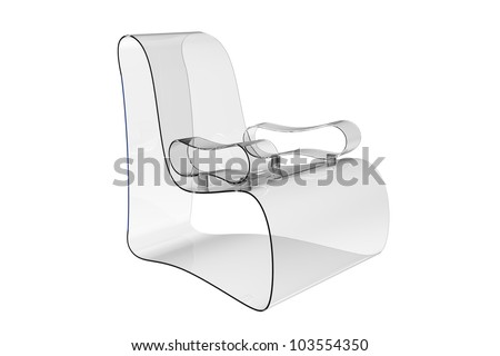 Render of a Modern Acrylic armchair isolated on a white background - stock photo
