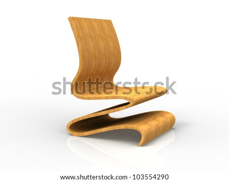Render of a Modern Plywood Chair on a white background - stock photo