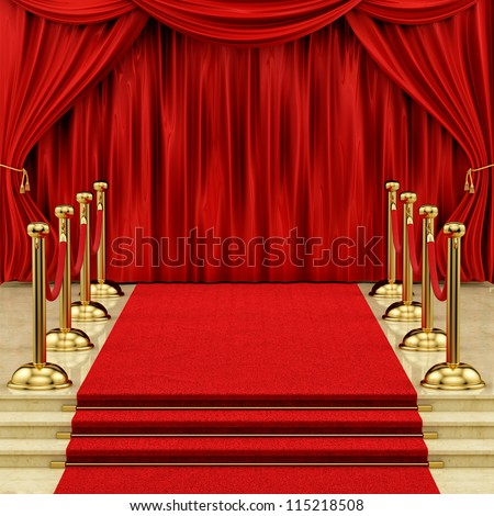 render of a red carpet with gold stanchions  and curtains - stock photo
