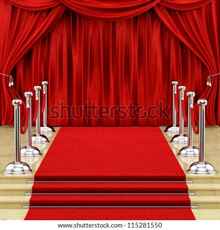render of a red carpet with silver stanchions  and curtains - stock photo
