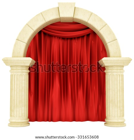 render of a red curtain behind pillars , isolated on white - stock photo