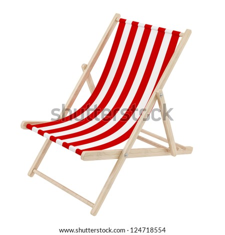 render of a red deck chair, isolated on white - stock photo