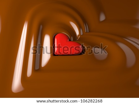 Render of a red heart in chocolate cream - stock photo
