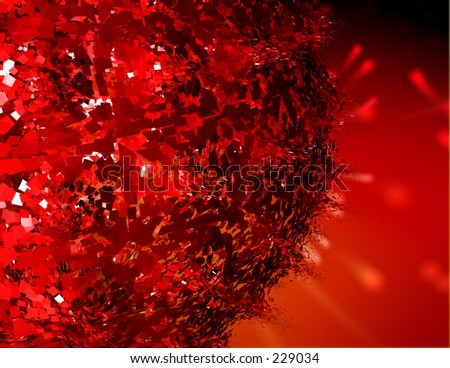 Render of a red planet exploding. - stock photo