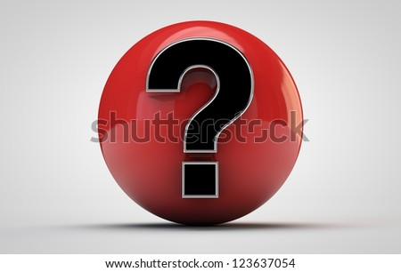 render of a red sphere with a question symbol on it