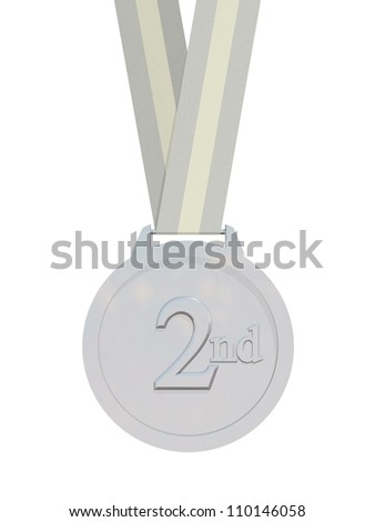 Render of a silver medal with strap isolated on a white background - stock photo
