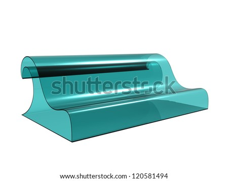 Render of a sofa shaped as a wave isolated on a white background - stock photo