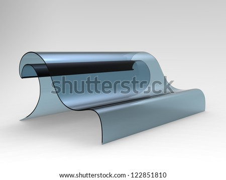 Render of a sofa shaped as a wave on a white background - stock photo