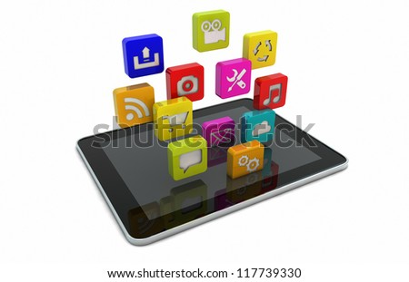render of a tablet downloading apps - stock photo