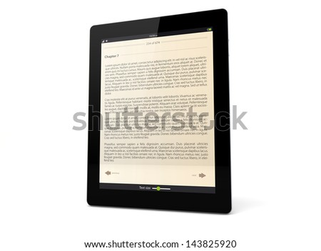 render of a tablet pc with ebook app on the screen
