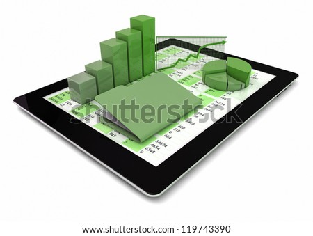render of a tablet pc with graphics and folder over the screen - stock photo
