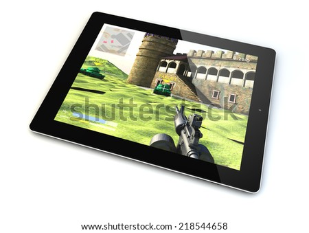 render of a tablet with a shooter game on the screen