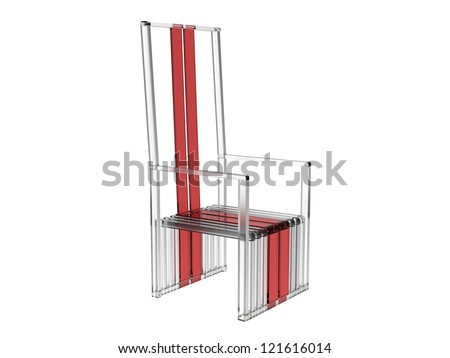 Render of a tall modern chair in acrylic isolated on a white background - stock photo