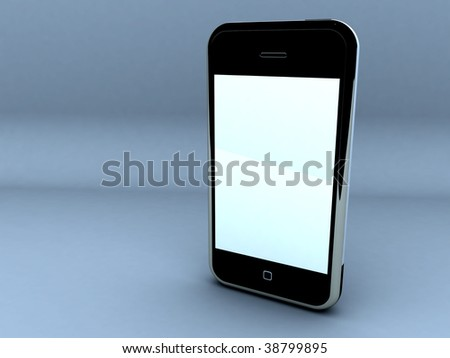 render of a touch screen cellphone. - stock photo