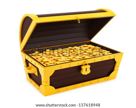 render of a treasure chest, isolated on white
