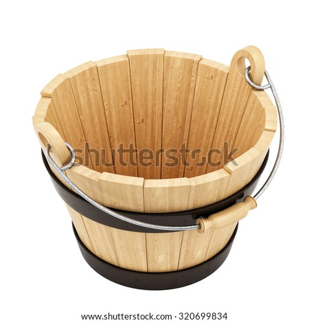 render of a wooden bucket, isolated on white