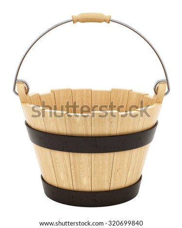 render of a wooden bucket, isolated on white - stock photo