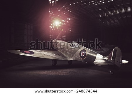Render of a ww2 Supermarine Spitfire 3D model placed in hangar