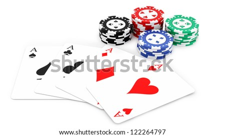 render of 4 aces and casino chips, isolated on white