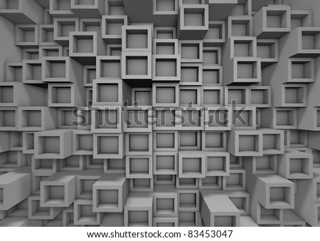 render of an abstract cube wall
