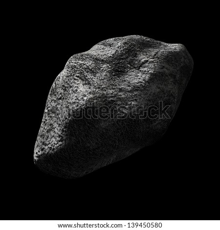 render of an asteroid in empty space - stock photo