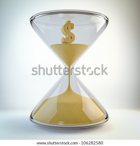 render of an hourglass with dollar inside (time is money concept)