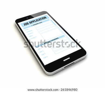 render of an original smartphone with job application on the screen - stock photo