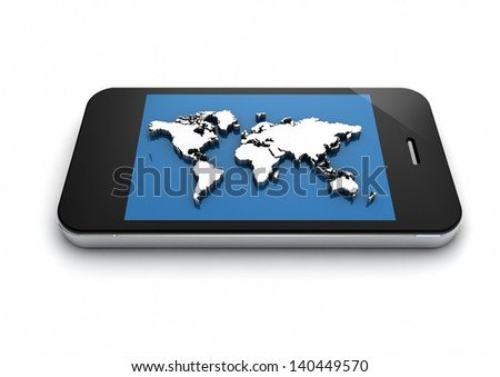 render of an smart phone with a world map on the screen