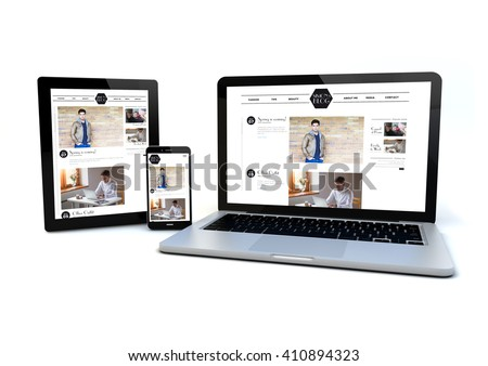 render of an smartphone, a tablet pc and a computer with a responsive design fashion blog on the screen. 3d illustration.
