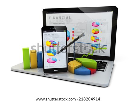 render of an smartphone and a laptop with finances graphics - stock photo