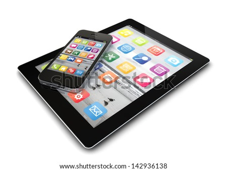 render of an smartphone and a tablet pc - stock photo