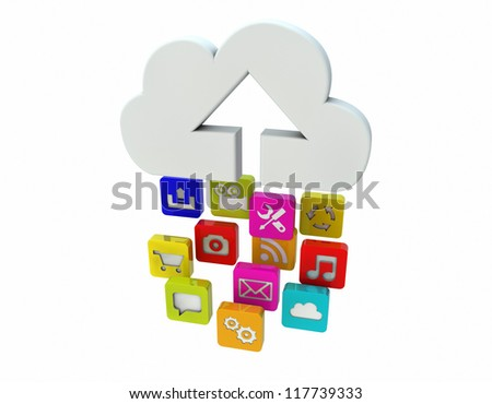 render of apps uploading to the cloud