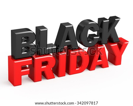 render of Black Friday isolated on white