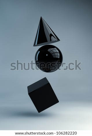 Render of black geometric shapes - stock photo