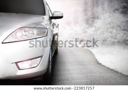 render of car without a trade brand road of snow