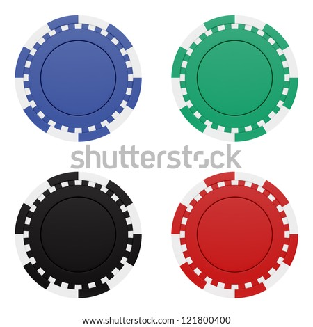 render of casino chips, isolated on white - stock photo