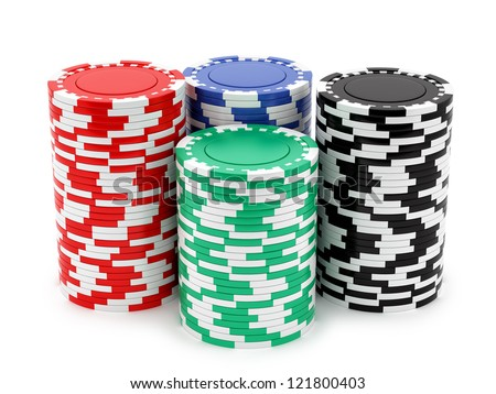 render of casino chips, isolated on white