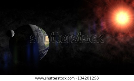 Render of Earth and The Moon in Phase with Rising Sun.Elements of this image furnished by NASA